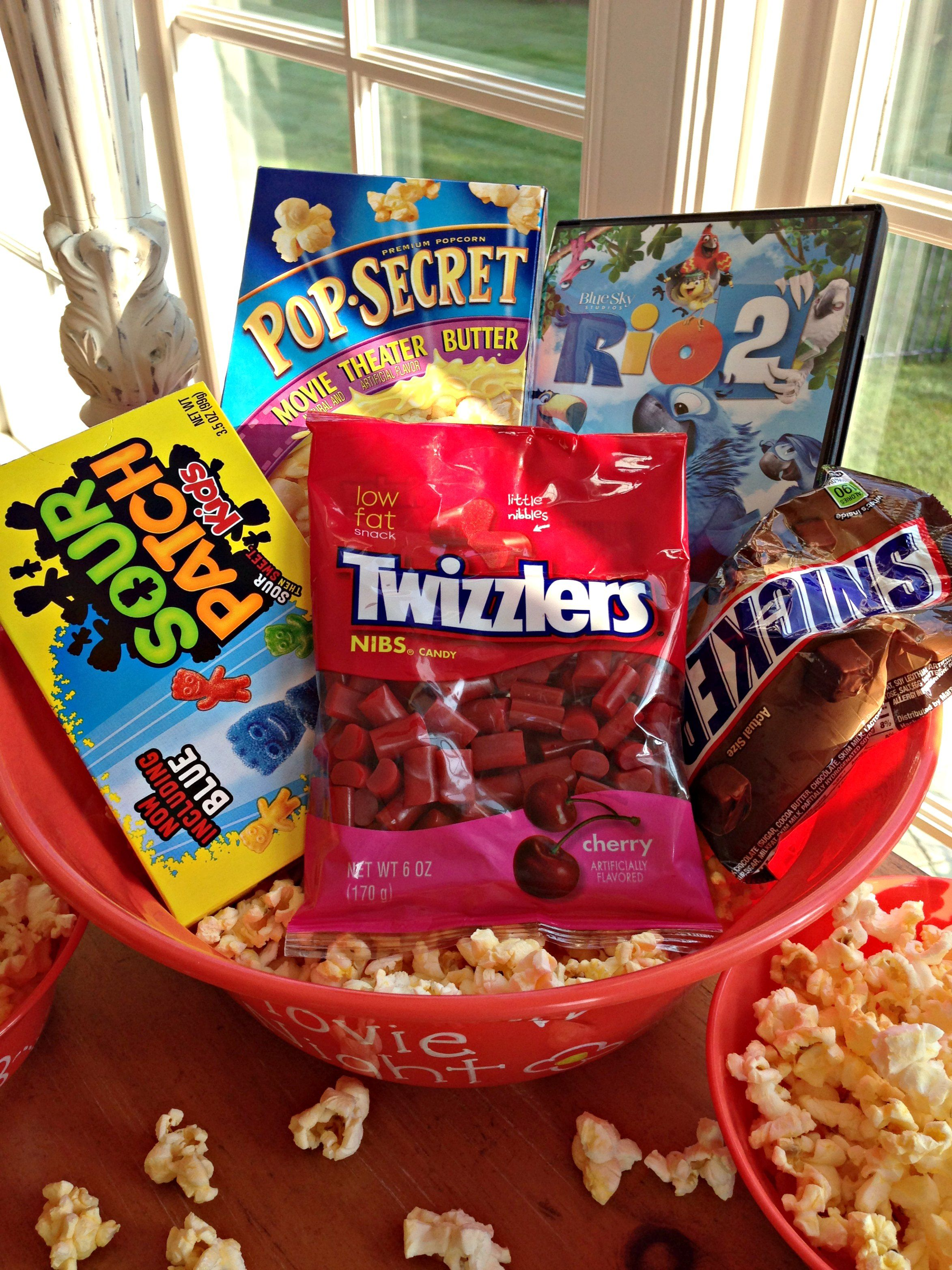 Family movie night gift in a diy popcorn bowl with images