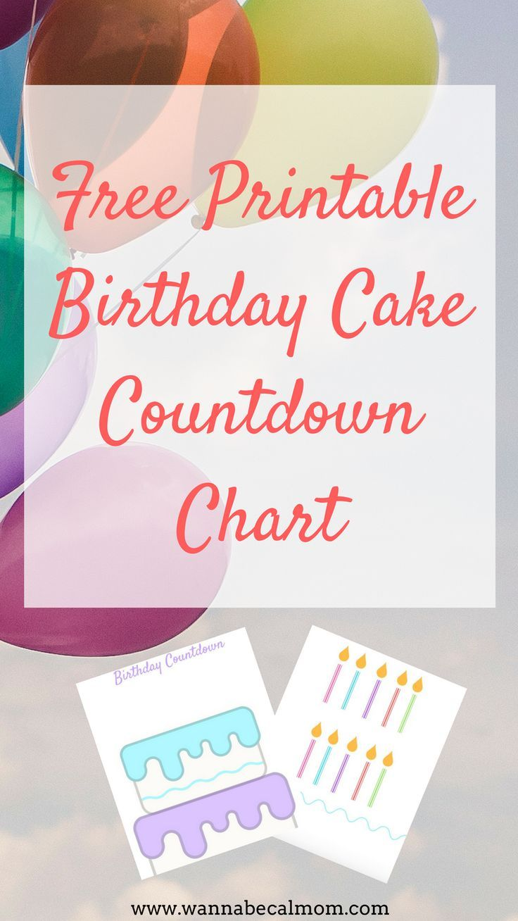 image about Printable Countdown Chart called No cost Printable Birthday Cake Countdown Chart #birthday #small children