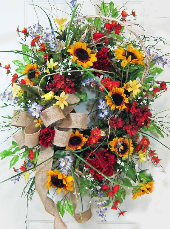 Xxl oval bright colorful outdoor wreath design with for Colorful summer wreaths