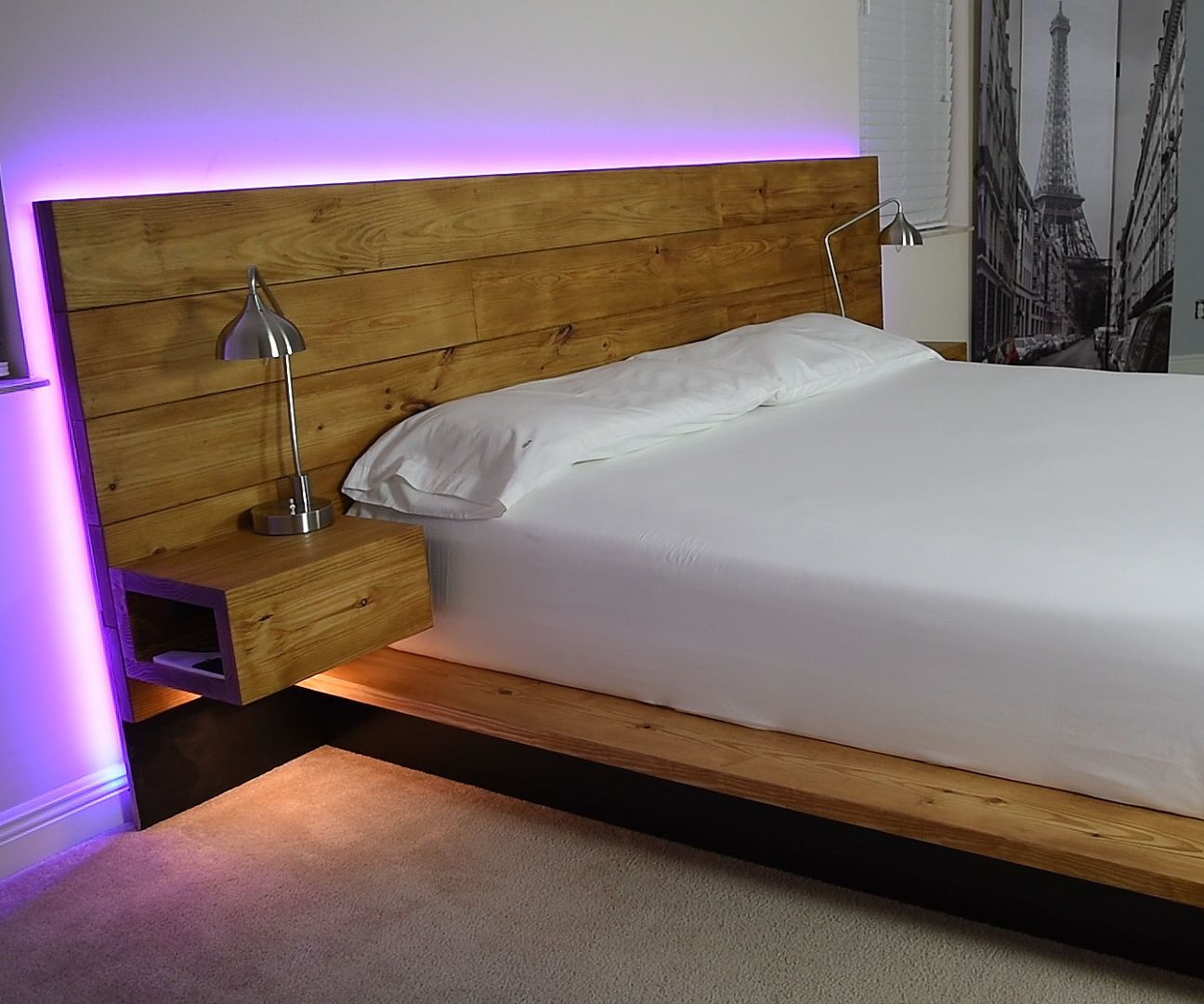 Diy platform bed with floating night stands platform for Pedestal bed