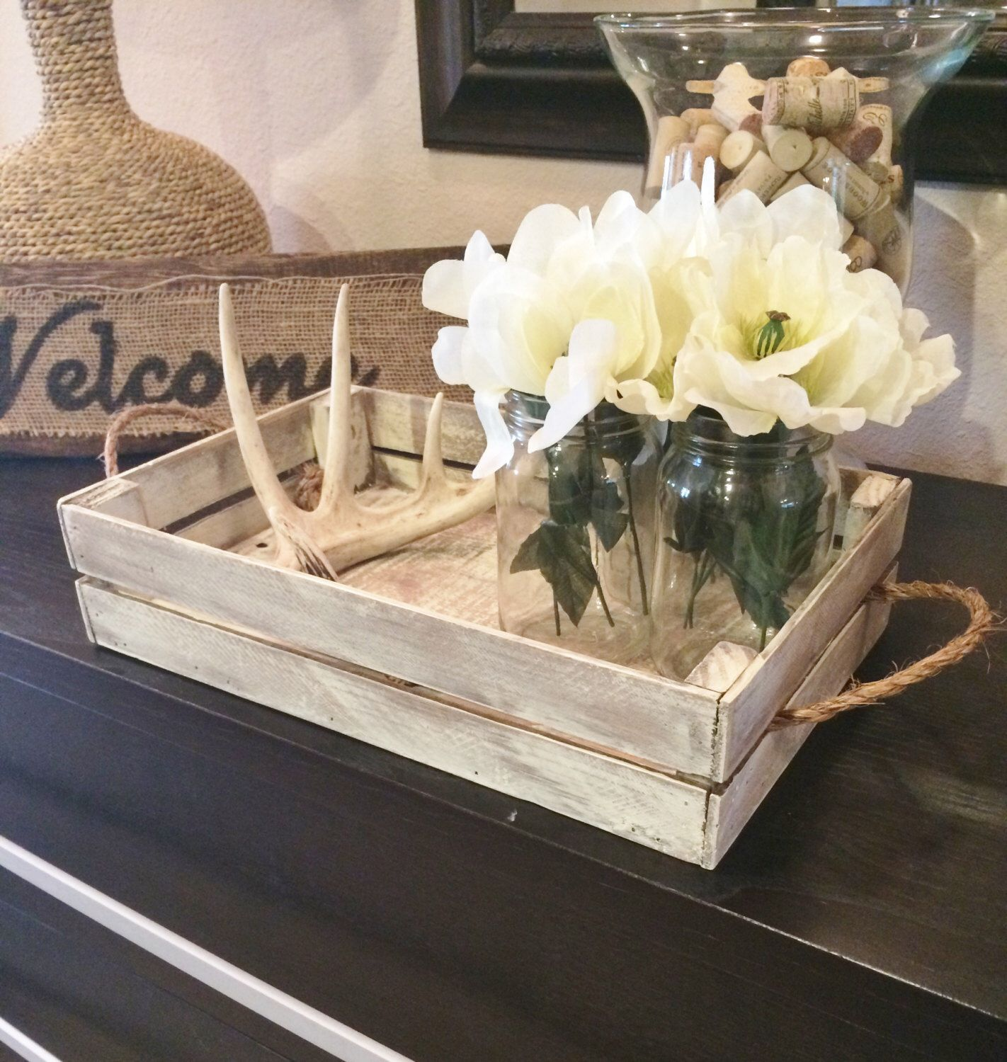 White distressed tray Rustic tray decor coffee table tray