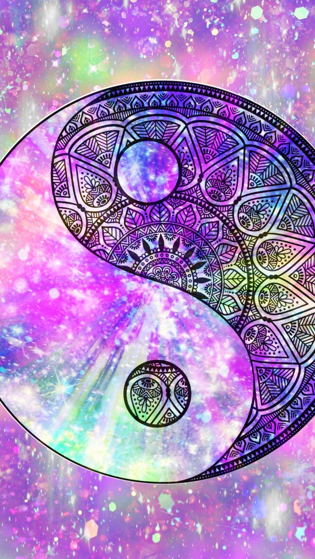 Mandala Yin Yang Galaxy, made by me purple sparkly