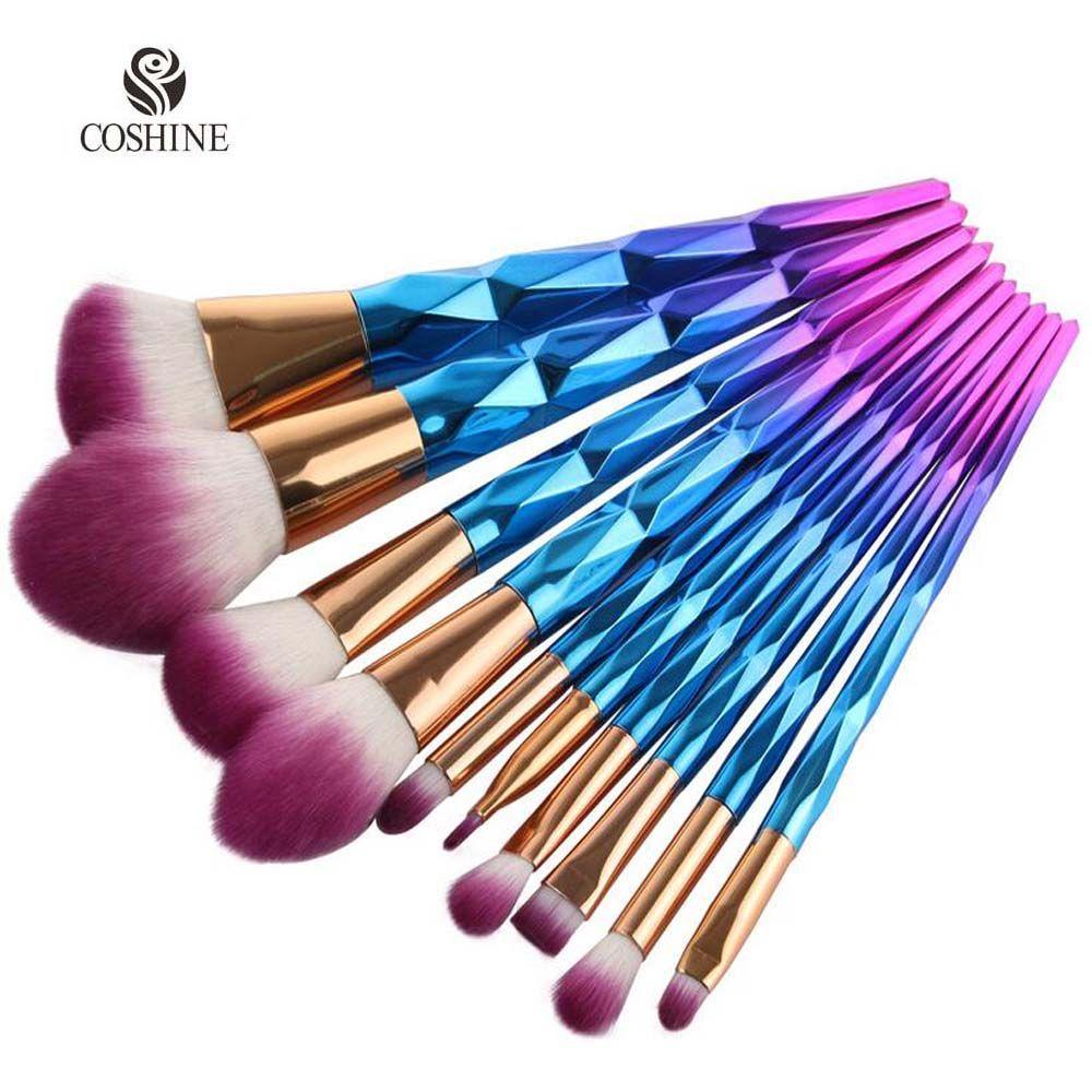 makeup brushes Coshine New Arriveral 10pcsset Rainbow
