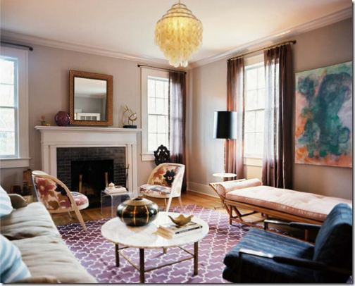 Living room recipe...graphic rug, warm wall colour, various seating