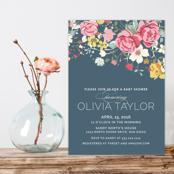 Vintage floral baby shower invitation navy blue shower invitation vintage floral baby shower invitation navy blue by westwillow filmwisefo