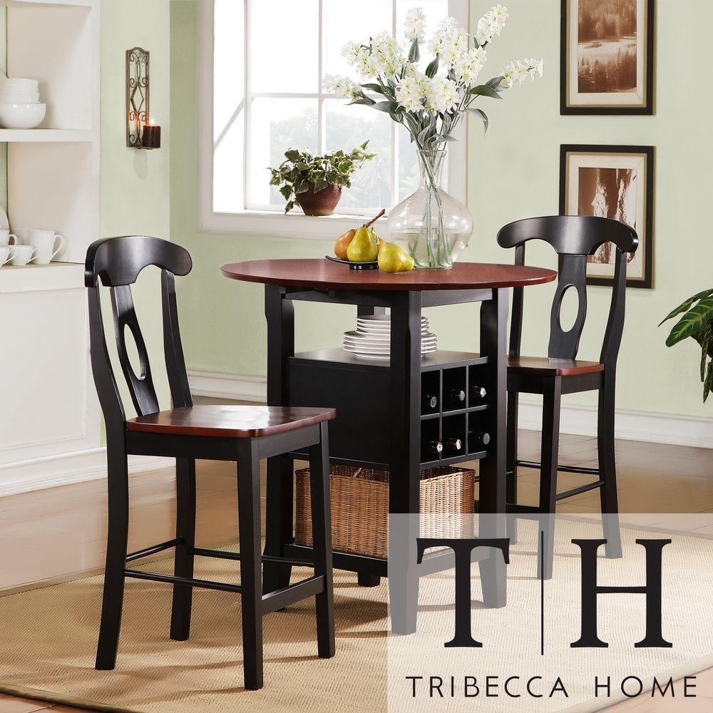 Tribecca home rwanda two tone napoleon 3 piece bistro kitchen set overstock