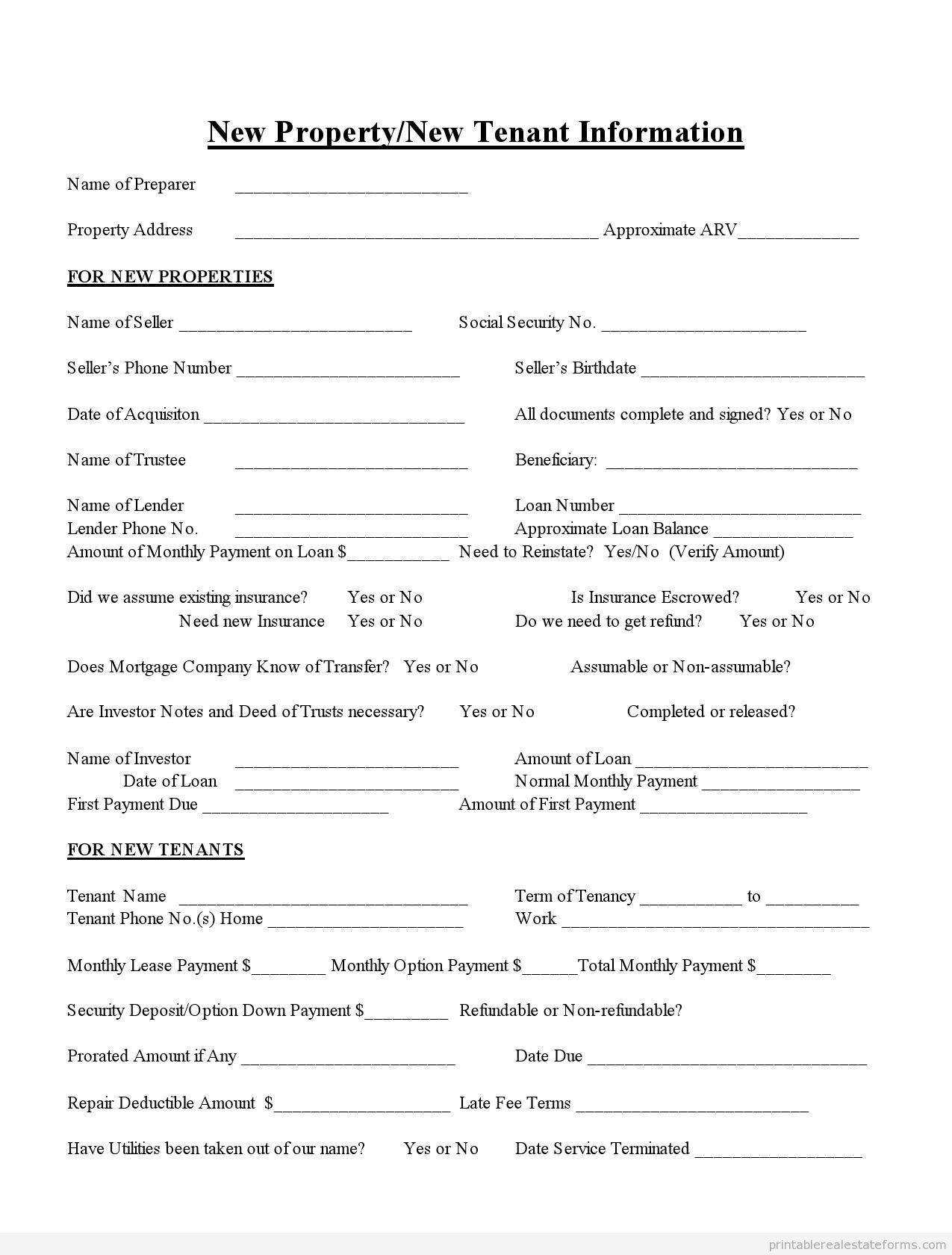 tenant information form Sample Printable new propertynew tenant information Form | Printable ...