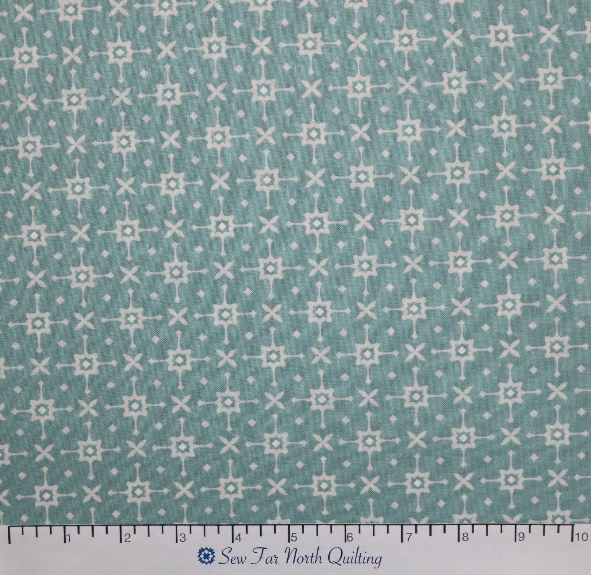 Benartex Fabrics Liberty Geo Turquoise Fabric Liberty Garden Green Teal White Cotton Quilting Sewing Apparel Craft Fabric by the Yard