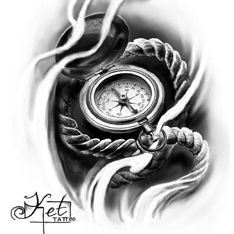 Татуировка компас воплощает этот внутренний стержень: человек смотрит на свою мечту жизни как стрелка компаса смотрит всегда на север.