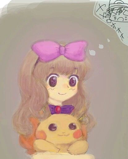 Female!Ash and Pikachu ^.^ ♡ I give good credit to whoever made this