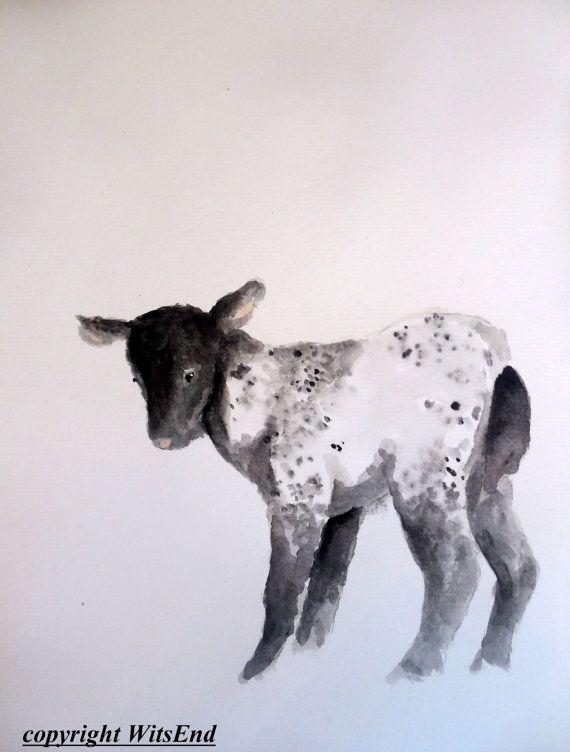 Baby Lamb Painting Original Sheep Watercolor Nursery Farm Animal Art