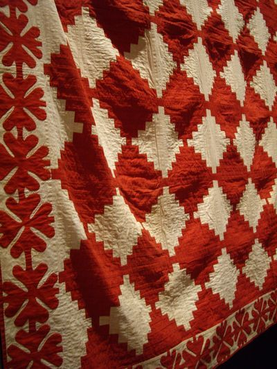 This is a beautiful red and white quilt. love the quilted border as inspiration.