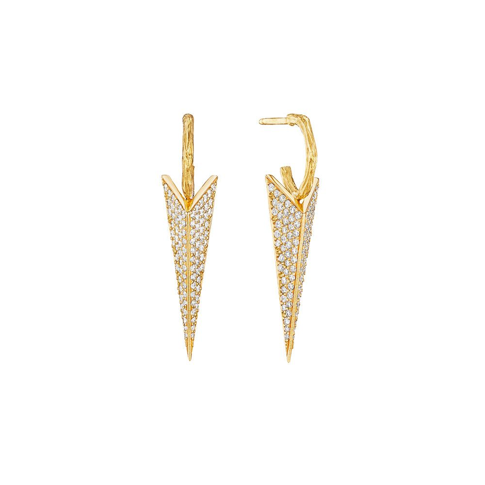 Mimi So Wonderland 18k Yellow Gold Pave Diamond Stinger Stud Earrings, Small