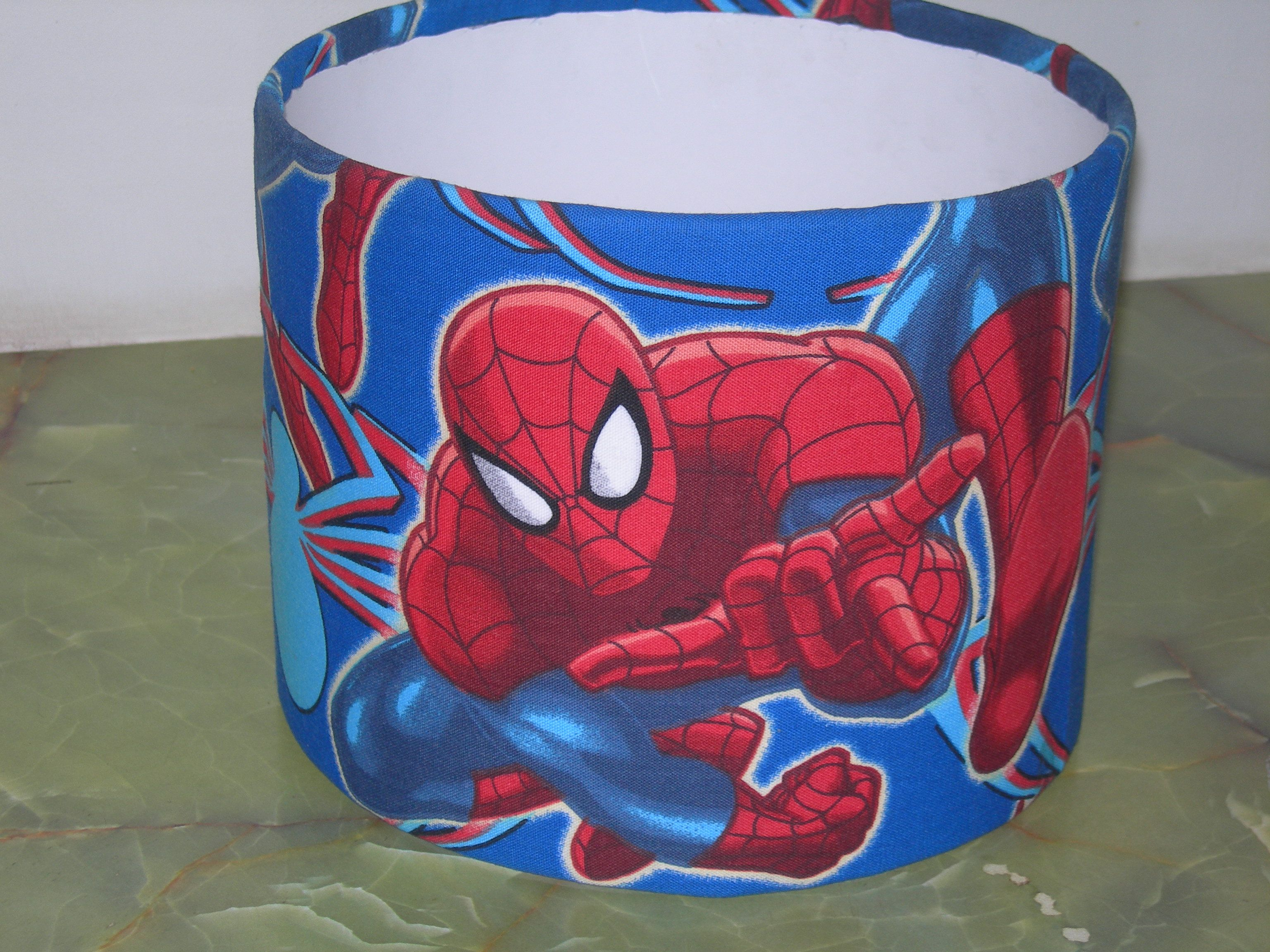 Covered spiderman lampshade for a friend's son's room makeover ...