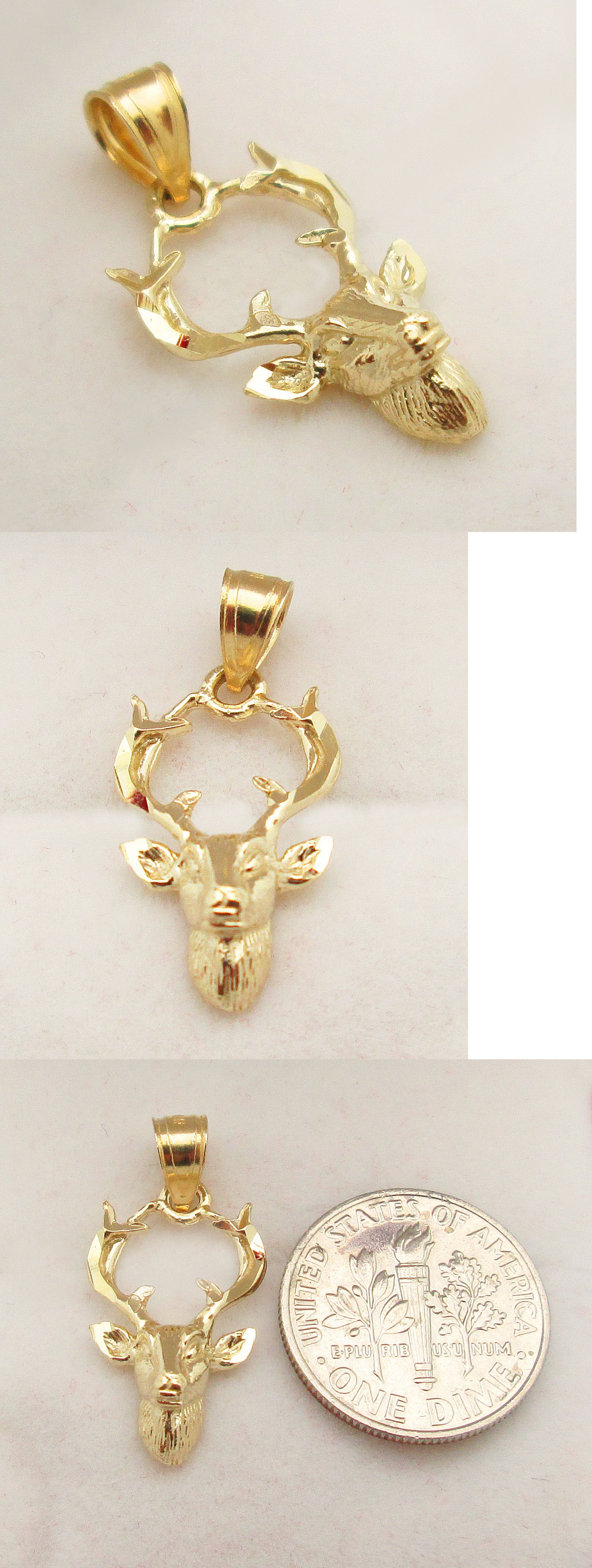 chain gray sterling deer jewelry rollo pendant from pin silver made carved antler wolf