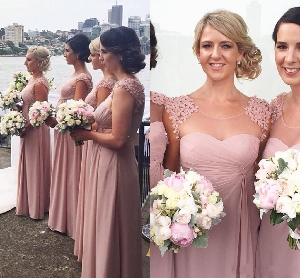 Sheer neck applique beads long bridesmaid dresses for wedding sheer neck applique beads long bridesmaid dresses for wedding chiffon ruffles floor length bridesmaid dresses 2016 plus size custom made ombrellifo Image collections