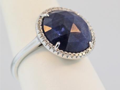 Ring - 14k white gold sapphire slice .11ct diamond halo ring @Jaymark Jewelers #engagement #diamondhalo #sapphirering