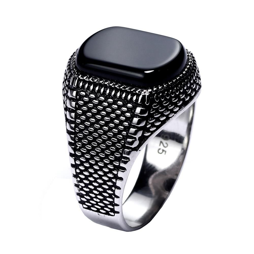 Natural Faceted Onyx Stone 925 Sterling Silver Turkish Ottoman Men Ring All Size