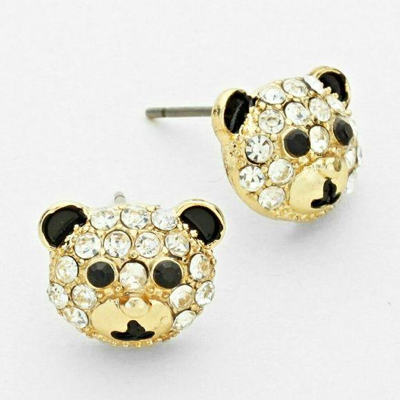 Crystal Teddy Bear Earrings Crystal Teddy Bear Stud Earrings Jewelry Earrings