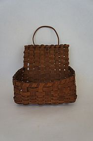 Small early 19th  wall basket with loop nice patina