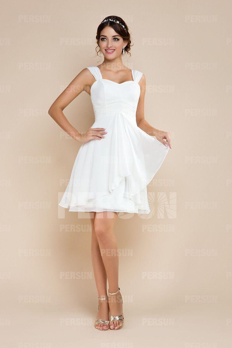 97850b9fe0 Robe de mariée à A-ligne courte décolletée en coeur en mousseline de ...