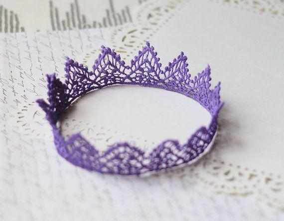 Soooo cute & delicate!! Lavender Princess Fairy Tale Lace Crown in violet by neesiedesigns, $12.00