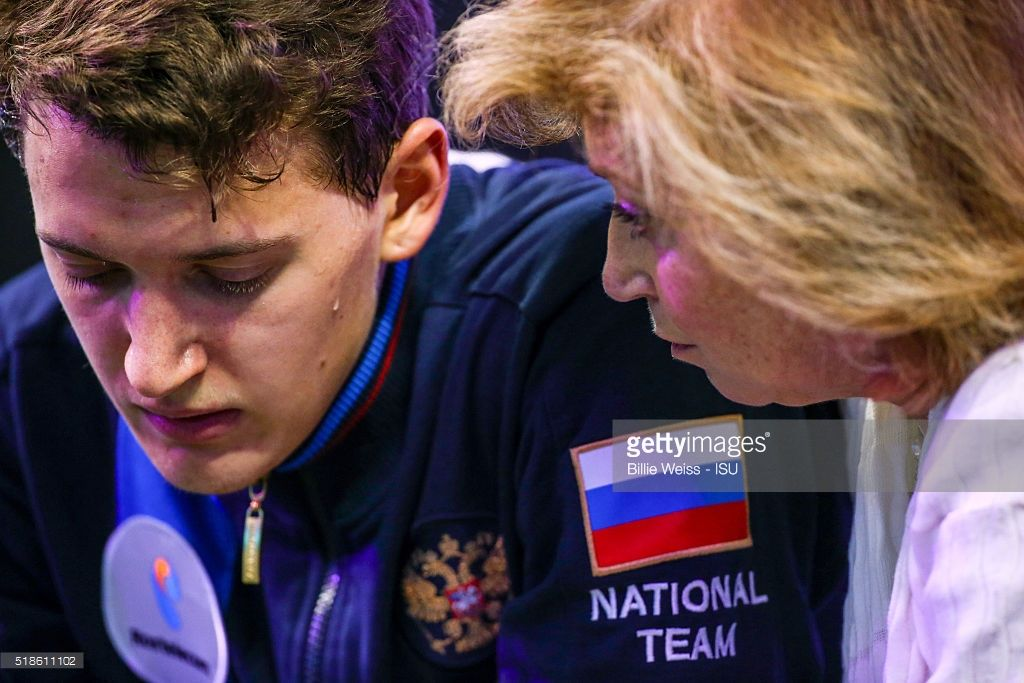 Maxim Kovtun of Russia reacts after competing during Day 5 of the ISU World Figure Skating Championships 2016 at TD Garden on April 1, 2016 in Boston, Massachusetts.