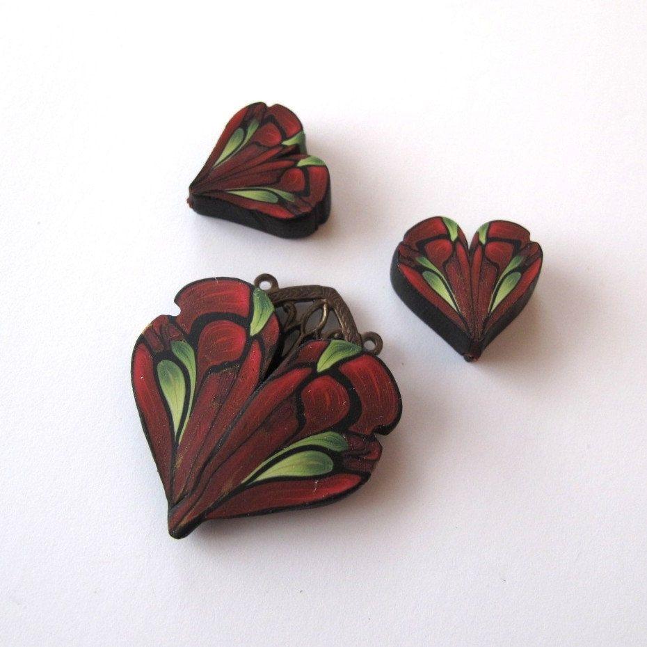 Art nouveau red heart pendant set polymer clay pendant set