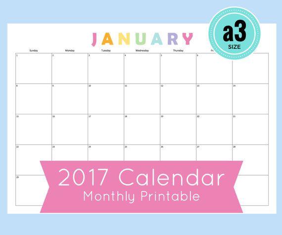 a3 Calendar, 2017 Monthly Calendar a3 size, Printable Monthly - monthly calendar