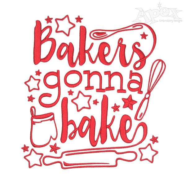 bakers gonna bake embroidery design - Bakers Gonna Bake Kitchen Redwork Embroidery Designs