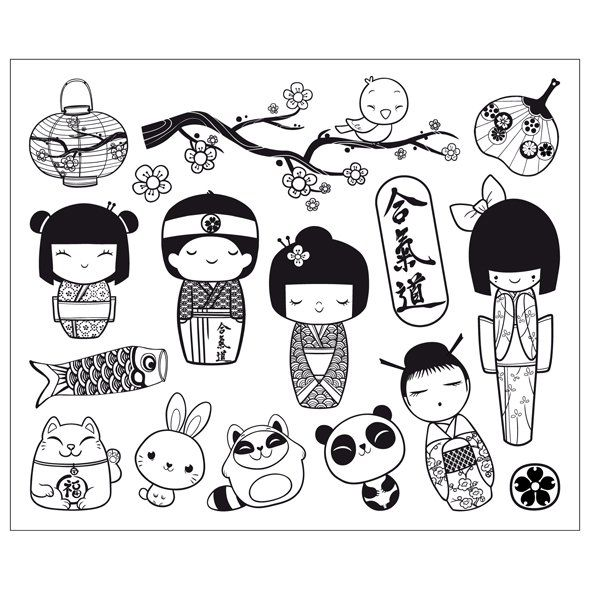 Coloriage Kokeshi.Coloriage Kokeshi Colouring Pages Page 3 Brownies