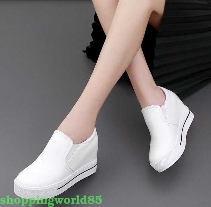 88c71141cd33  5.54 - Hot Womens Platform Hidden Wedge Loafers Sneakers Slip On High  Heels Dress Shoes  ebay  Fashion