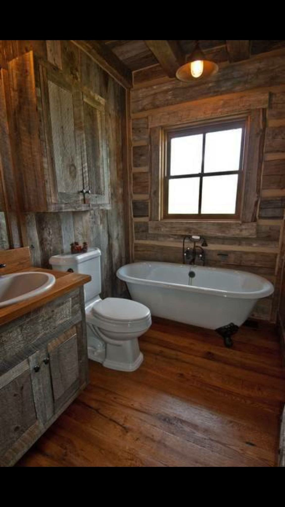 rustic bath cabin sweet cabin pinterest badezimmer haus und badezimmer rustikal. Black Bedroom Furniture Sets. Home Design Ideas