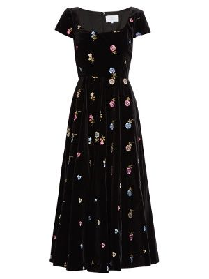 Floral-embroidered cotton-velvet dress | luisa beccaria | MATCHESFASHION.COM US