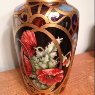 Shirley Dyer Weston, original design in luster, Roman gold and porcelain paint.