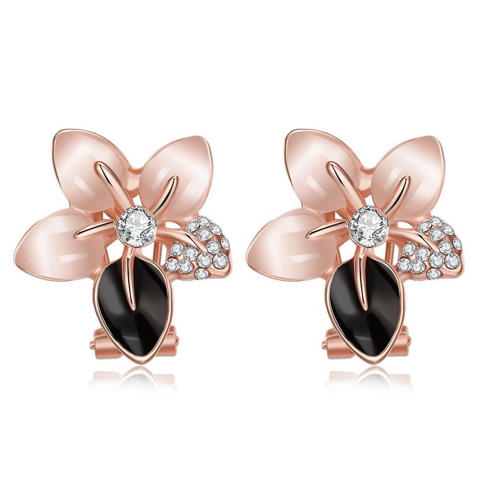 Gnzoe Womens Girls 18k Gold Plated Stud Earrings Crystal CZ Flowers Rose Gold Antiallergy