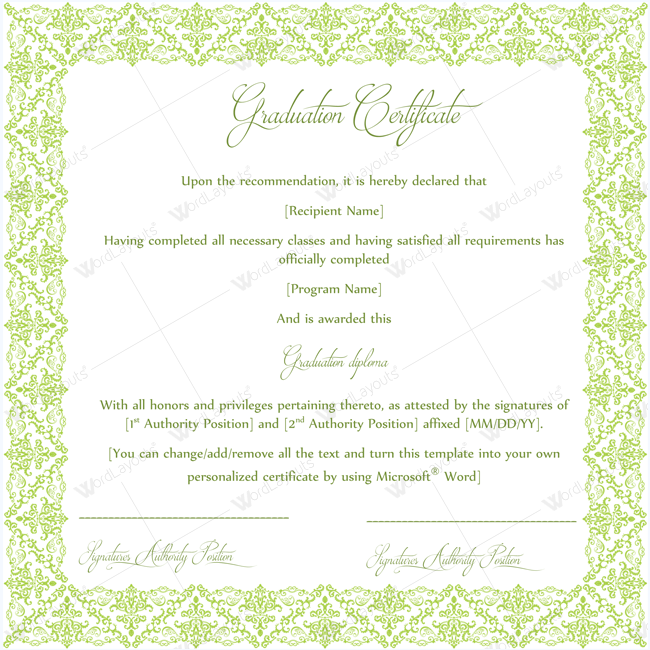 Graduation Certificate Template Word Graduationcertificate