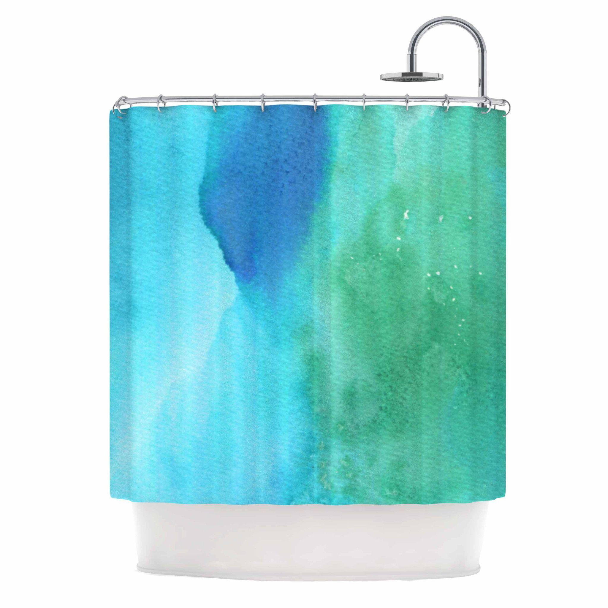 Li Zamperini Marine Green Blue Shower Curtain