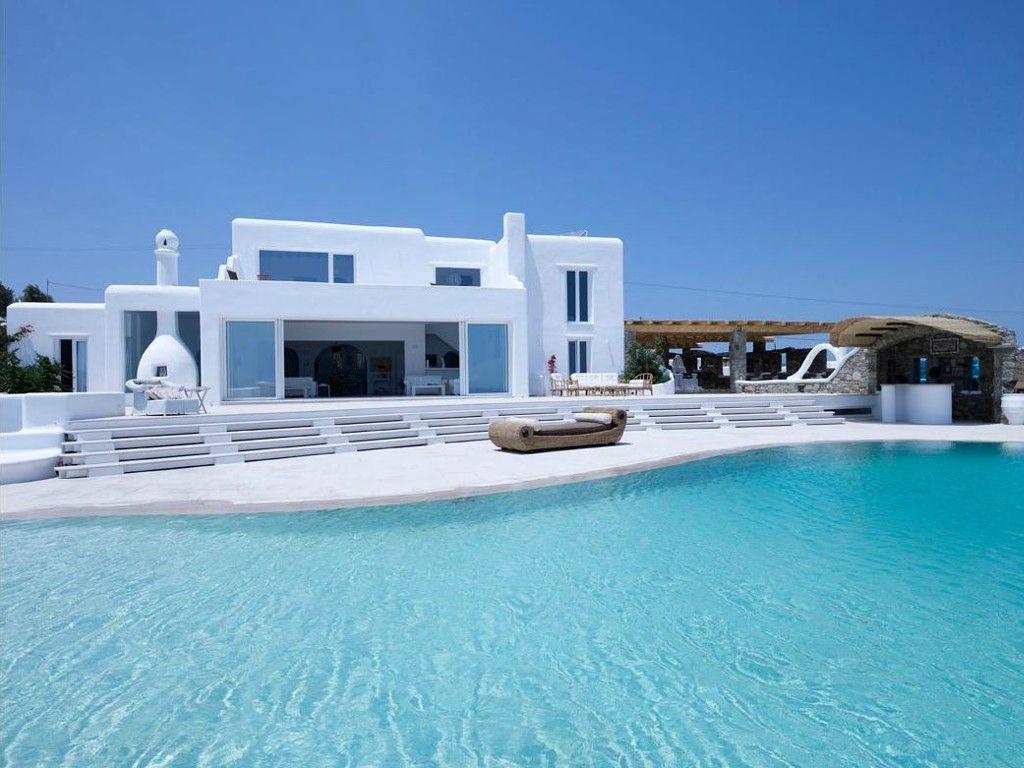 Villa mykonos gr ce vacances piscine maison ibiza style pinterest villas mykonos for Villa vacances piscine
