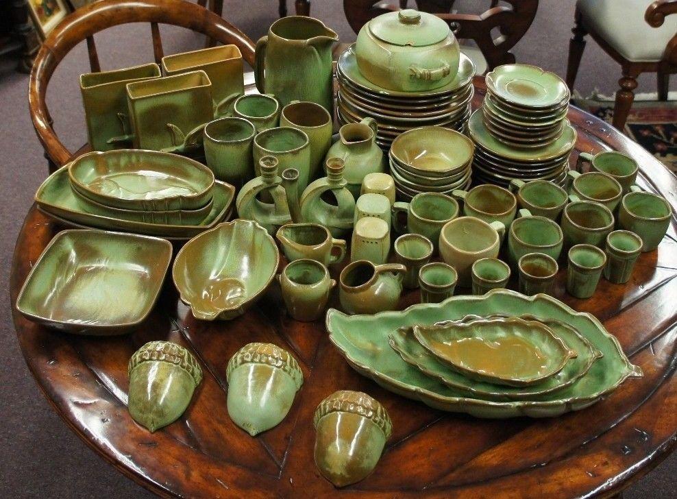 142 Pc Frankoma Plainsman Green China Dish Set Original Clay Vtg Ceramic Dinner Pottery Dishes China Dishes Green China