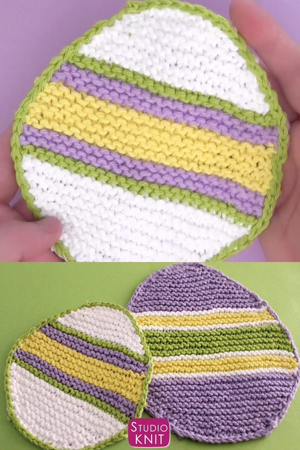 Photo of Easter Egg Dishcloth Knitting Pattern and Video Tutorial