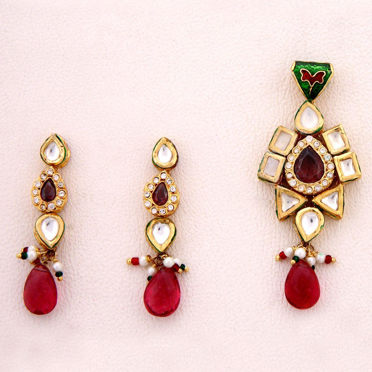 Kushals fashion jewellery kundan pendant earring jewellery