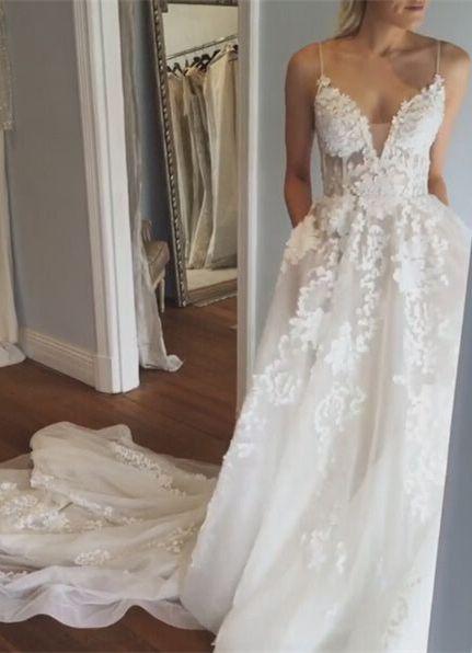 cd0758c49df Elegant A-Line Spaghetti Straps Sleeveless Court Train Wedding Dress ...