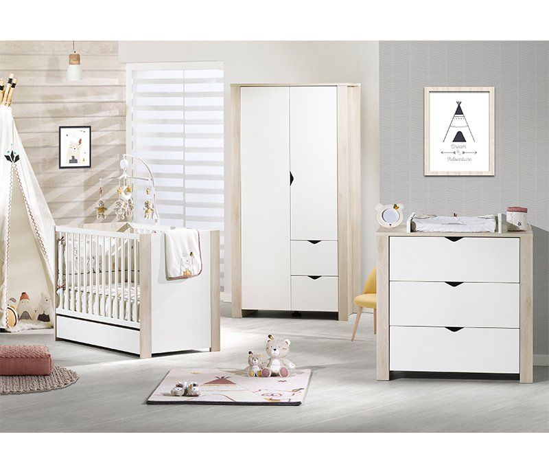 Chambre Bebe Lit 140x70 Commode Armoire Tipee Avec Images