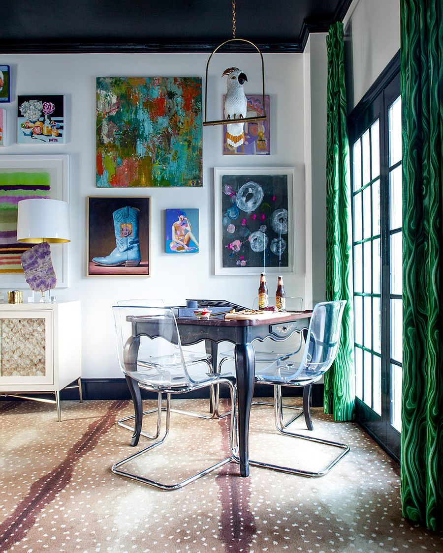 Wall Art And Drapes In Malachite Hue Bring Color To The Small Custom Wall Art For A Dining Room Inspiration