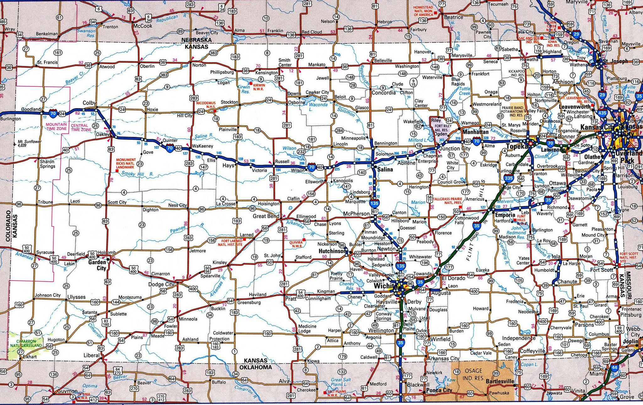 Road Map Of KansasFree Maps Of US TravelUSKanIwaNebMo - Us map with roads