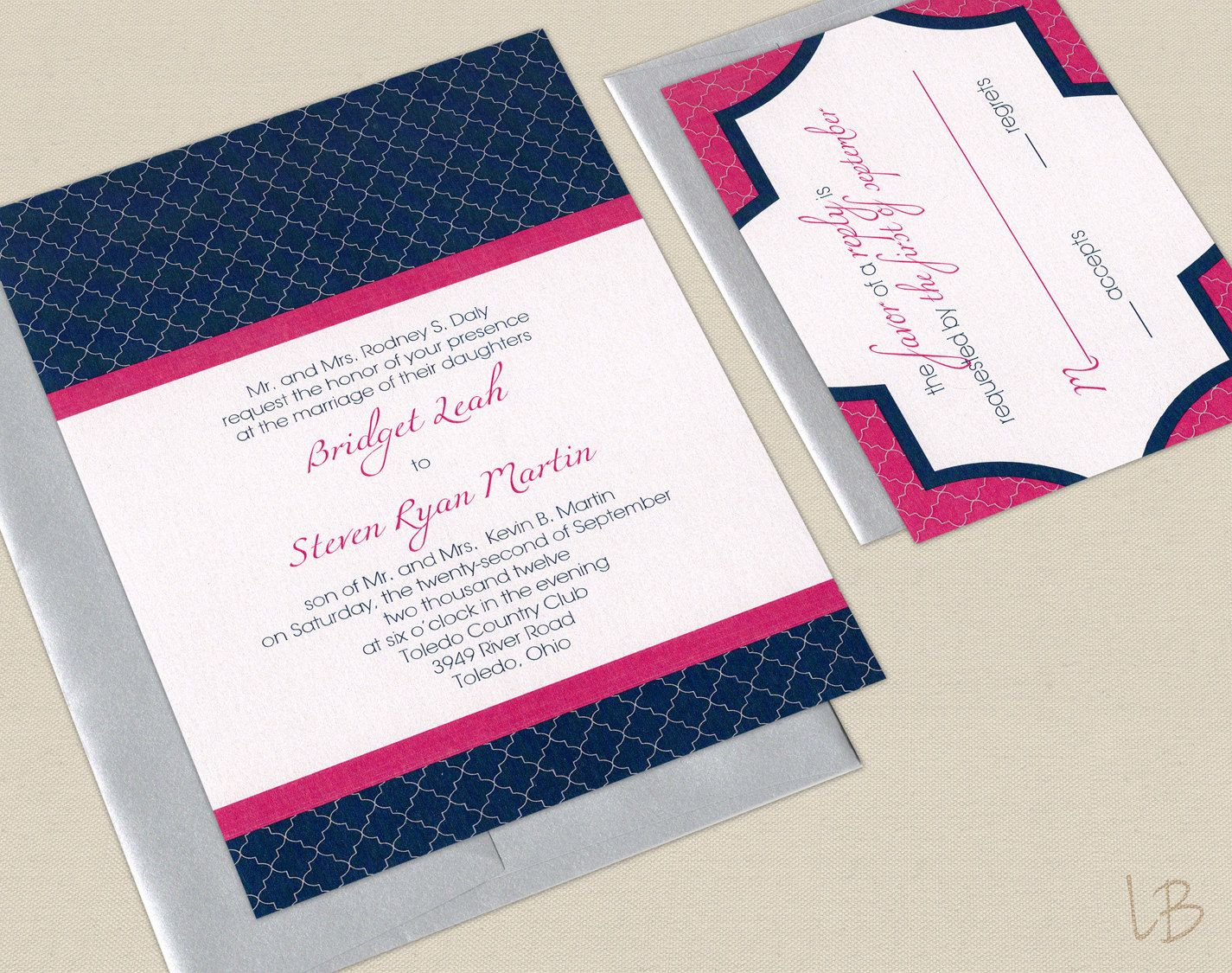 Pink And Navy Wedding Invitation Sample Set Fuchsia Blue Modern Geometric 2 50 Via Etsy