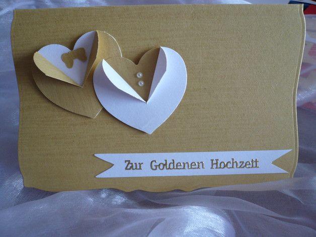 Schone Grusskarte Zur Goldenen Hochzeit Mit Umschlag Weiss Und In Folie Verpackt Gestanzt Und Gepragt Einladung Goldene Hochzeit Karte Hochzeit Goldene Hochzeit