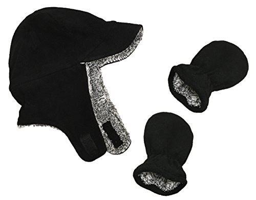 56b2c2d39b1 N Ice Caps Little Boys and Baby Sherpa Lined Fleece Flap Hat Mitten Winter  Set (6 - 18 Months
