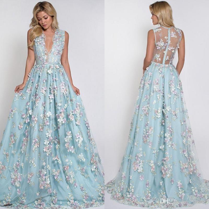 f84d2ebdcbb Mint Blue Sexy 3D Floral Appliqued Prom Dresses Long Deep V-Neck Party Dress  Floor Length Illusion Back Tulle Formal Evening Gowns Mermaid Wedding Dress  ...